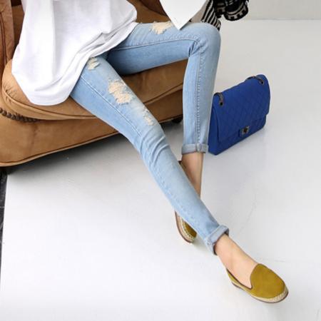 2016新款修身显瘦牛仔长裤女批发 韩国破洞牛仔裤女小脚紧身