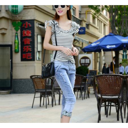 2016夏季新款女式牛仔裤批发 显瘦破洞牛仔七分裤女学生