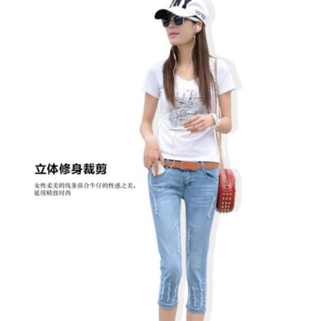 2016韩版修身显瘦瘦腿小脚牛仔铅笔小脚七分牛仔裤女