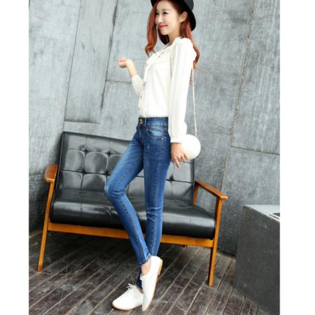 2016新款修身显瘦小脚铅笔裤 牛仔长裤韩版女式牛仔裤