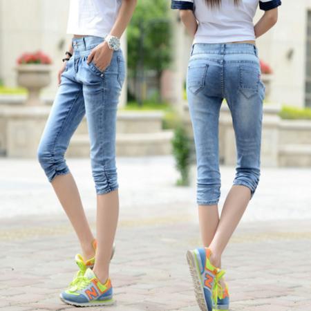 2016夏季新款女式牛仔裤 显瘦破洞牛仔七分裤女学生