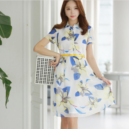 2016夏季新款修身显瘦3D印花雪纺轻薄透气收腰名媛气质连衣裙女