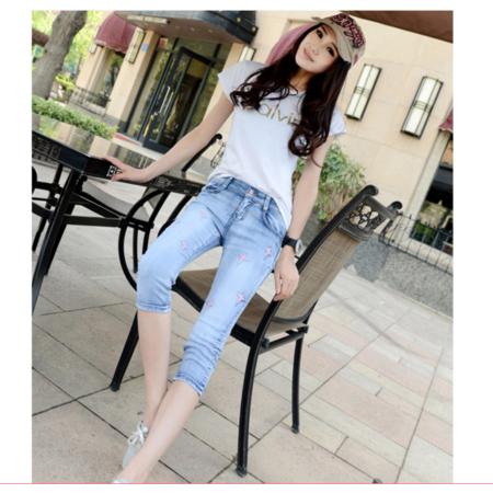 2016女式小脚铅笔七分裤夏季新款韩版浅色星星修身牛仔裤女潮薄款