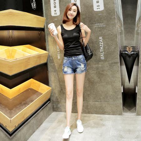 2016夏季新品女装韩版时尚显瘦无弹力大码胖MM洗水破洞牛仔短裤女