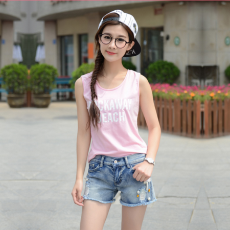 2016夏季新款韩版时尚破洞个性显瘦浅色薄款牛仔短裤女式