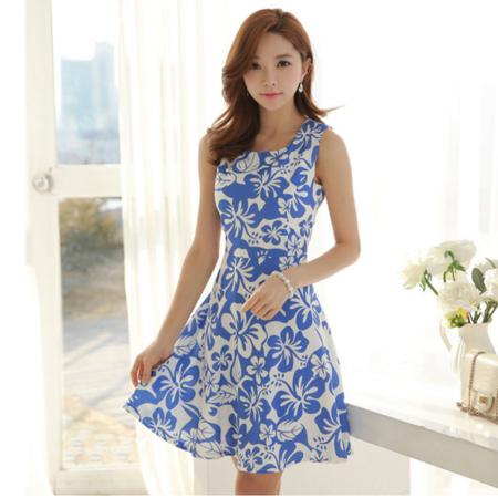 2016夏季新款棉麻3D印花粗布圆领气质无袖连衣裙女