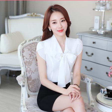 2016夏季新品修身OL通勤气质纯色蝴蝶结短袖衬衫女式衬衣职业衬衫