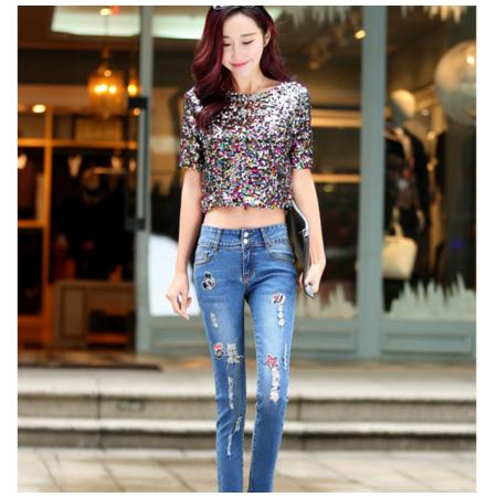 2016夏季新款修身小脚铅笔裤女式长裤破洞卡通贴布显瘦弹力牛仔裤女