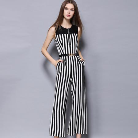 2016夏季新品修身显瘦欧美大牌条纹连体无袖背心套装阔腿裤