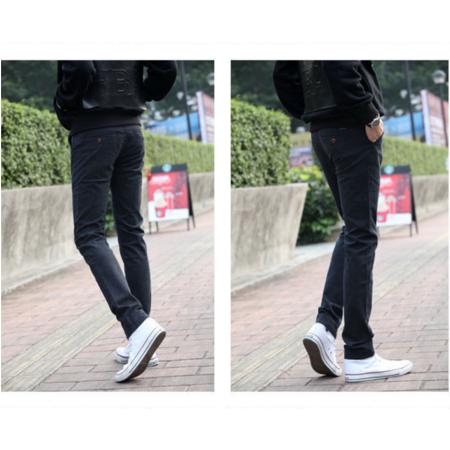2016男装春夏新款 韩版小直筒修身磨毛男式休闲裤棉麻裤