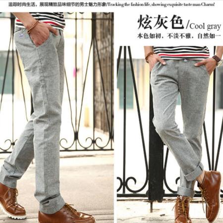 2016年春夏装新款 韩版系带束绳直筒修身棉麻亚麻男士休闲裤