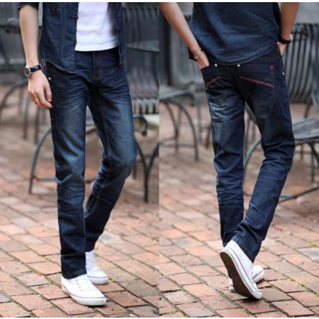 2016新款时尚牛仔 韩版修身小直筒男式牛仔裤