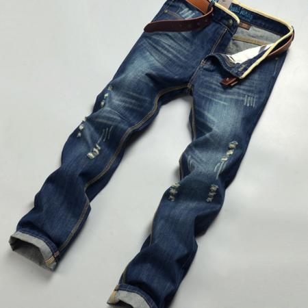 2016秋季男装 外贸新款牛仔裤 韩版磨白破洞男式牛仔裤