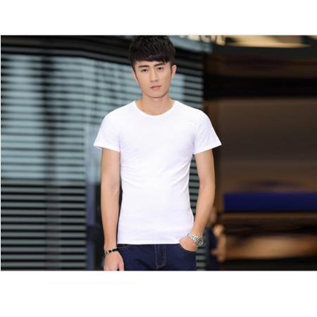 2016男装夏季新款 韩版修身合体纯色男士圆领短袖T恤打底衫