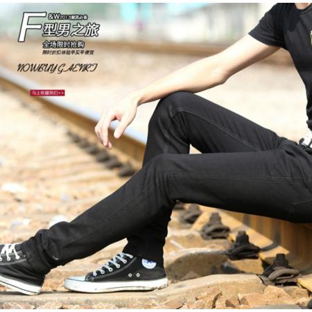 2016新款夏季韩版黑色修身显瘦男式小脚裤 牛仔裤 潮