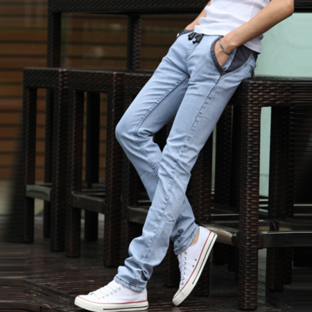 2016新款男裤韩版修身小脚系带抽射浅灰色男式牛仔裤