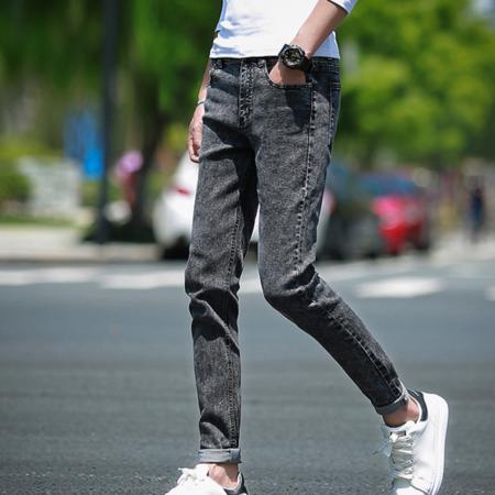 2016韩版夏季 街头潮流复古雪花男式修身小脚牛仔裤