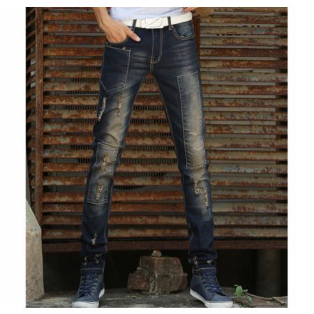 2016韩版修身直筒男式弹力小脚裤牛仔裤 铅笔潮裤磨烂款秋装
