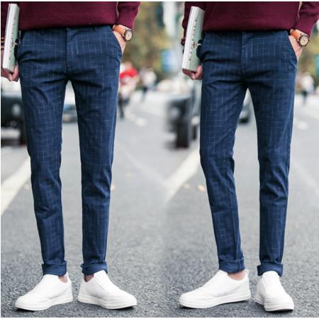 2016秋季英伦风男裤 韩版格子修身显瘦男式休闲裤直筒男裤