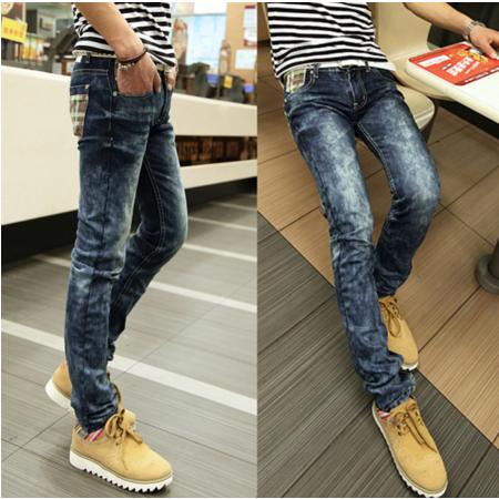 2016男装小脚裤 韩版新款贴布格子后袋男式修身牛仔裤