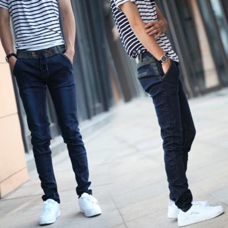2016新款夏季 韩版系带束绳松紧腰男式小脚修身显瘦牛仔裤