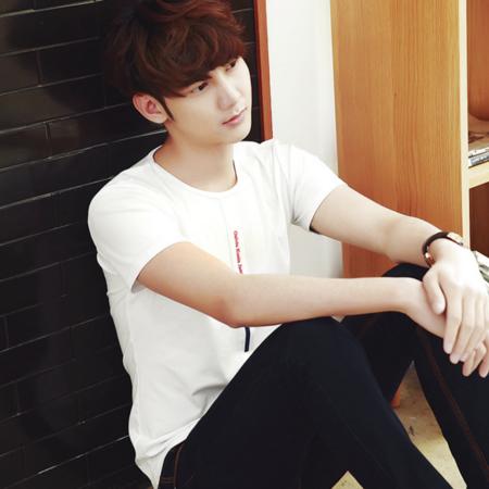 2016男士短袖T恤字母圆领纯棉修身青少年学生半袖韩版潮流打底衫