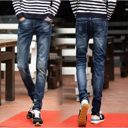 2016秋男装新款 韩版小脚修身男式牛仔裤喷墨喷漆时尚街裤