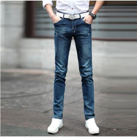 2016夏男装新款 弹力水洗浅色破洞韩版修身中腰小脚牛仔裤