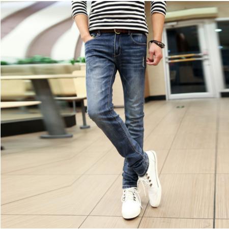 2016夏季男士牛仔裤男装韩版潮修身弹力新款男士水洗小脚裤子