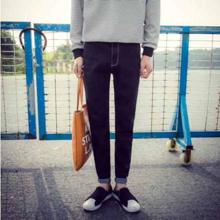 2016秋季修身牛仔裤男士小直脚中腰长裤潮流青年韩版休闲男裤