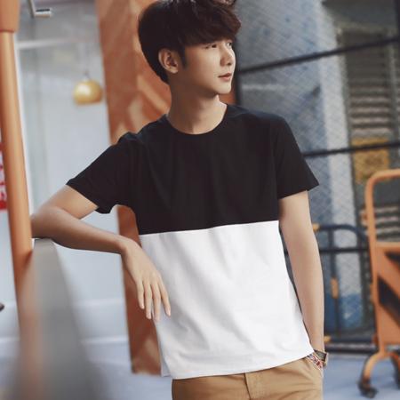 2016男士短袖T恤拼色圆领纯棉修身青少年学生半袖韩版潮流打底衫