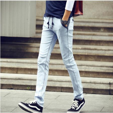 2016潮男浅色抽绳小脚牛仔裤男士韩版休闲裤青少年弹力铅笔裤