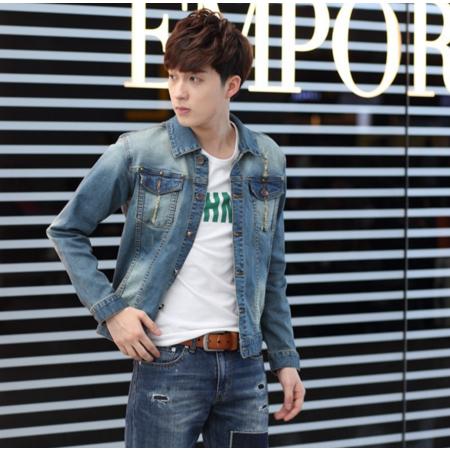 2016秋新品牛仔外套男做旧韩版修身牛仔夹克休闲牛仔衣潮