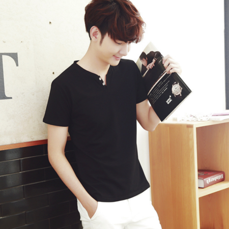 2016夏季男士短袖T恤纯色V领纯棉修身青少年学生半袖韩版潮流打底衫