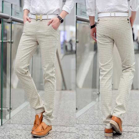 2016夏装新款 韩版英伦风格子布男式休闲裤直筒修身男休闲长裤