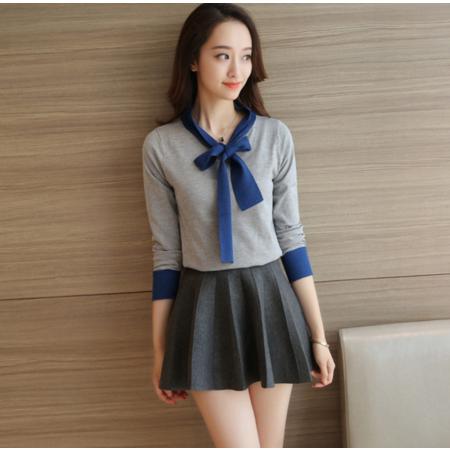 2016早秋韩版甜美学院套头毛衣修身显瘦蝴蝶结针织衫