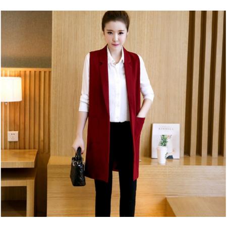 2016秋装新款韩版无袖显瘦背心马夹春秋装西装外套中长款马甲女士