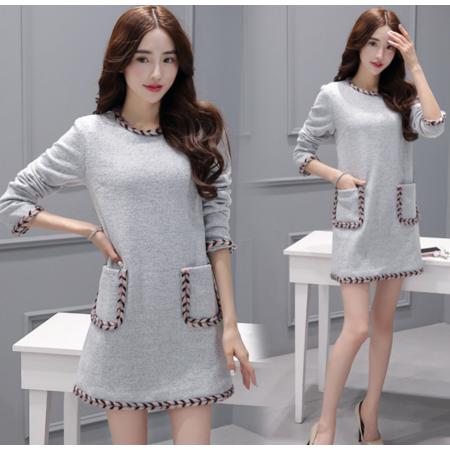 2016秋装韩版新款长袖连衣裙女 圆领宽松套头连衣裙