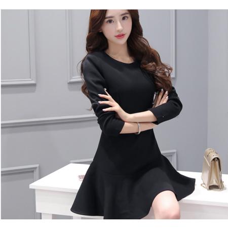 2016韩版秋装新款鱼尾连衣裙 修身显瘦长袖荷叶边A字裙