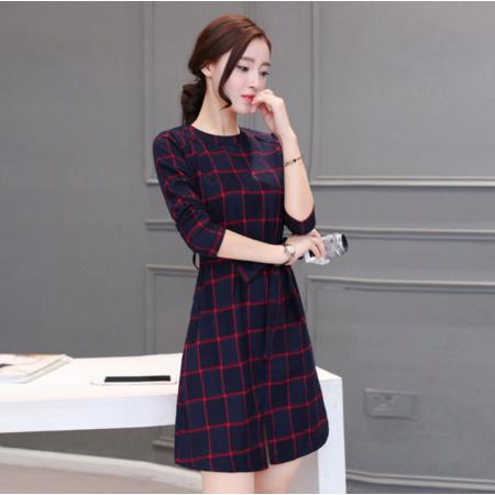 打底连衣裙女2016秋装新款女装韩版修身格子长袖裙子中长款