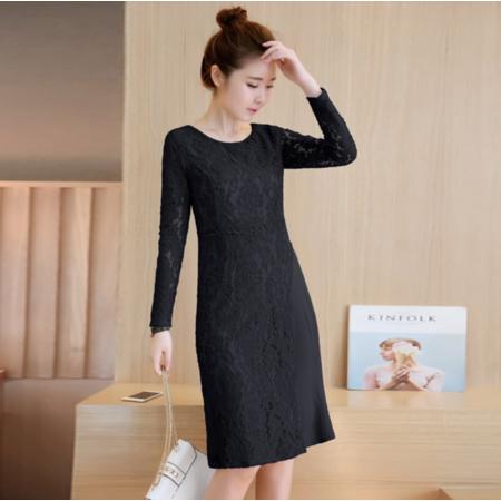 2016秋季新款连衣裙韩版假两件气质显瘦百褶蕾丝打底裙