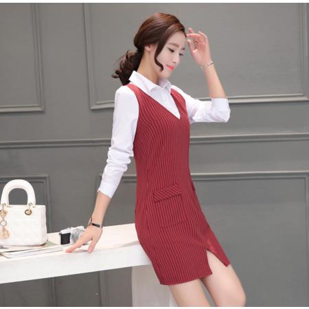 2016秋季女装韩版时尚潮假两件衬衫中长款条纹气质职业连衣裙