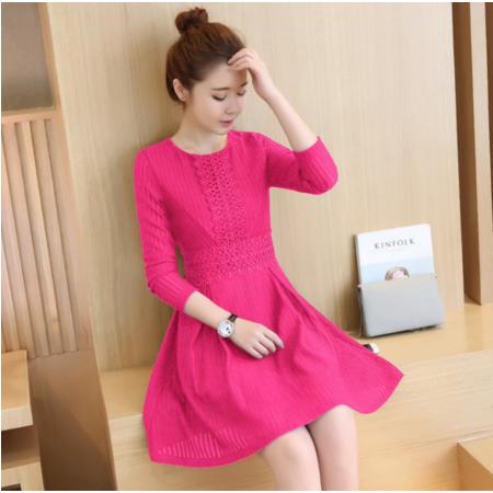 2016秋季新款韩版时尚修身连衣裙女蕾丝花边拼接A字裙