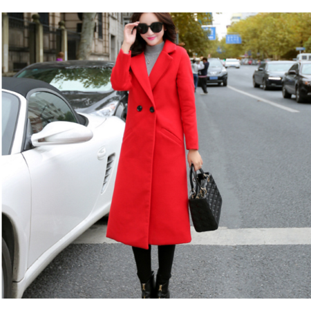 2016秋季新款 韩版申诉修身显瘦长袖过膝毛呢外套女