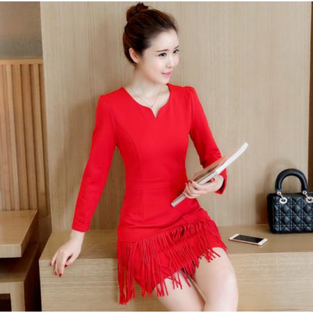 连衣裙女长袖2016秋装新款韩版修身时尚流苏边拼接打底裙潮