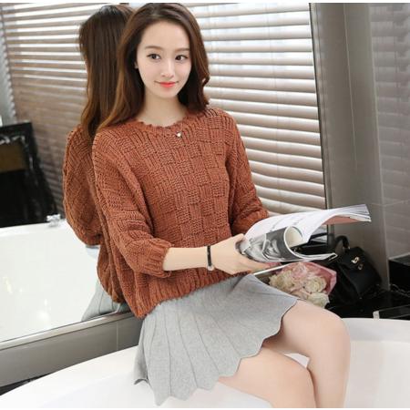 2016秋季韩版女装圆领纯色宽松百搭上衣七分袖套头毛衣女