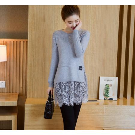 2016秋冬新款针织衫蕾丝拼接打底套头毛衣百搭长袖女