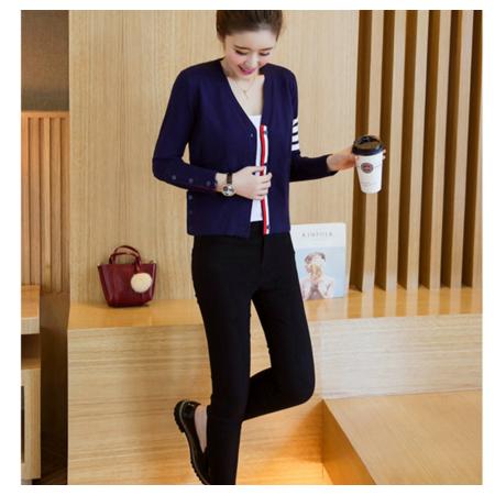 2016秋季新款针织毛衣海军风开衫短款小外套女
