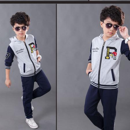 王菲儿 2016新款秋季男童套装 中大童宝宝运动2件套儿童棉连帽开衫大R套