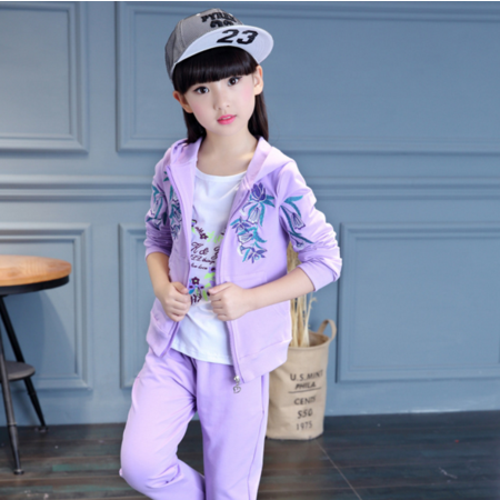王菲儿 韩版童装女童秋装儿童套装2016秋新款运动中大童女孩运动3件套
